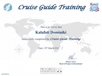 CRUISE GUIDE TRAINING CERTIFICATE